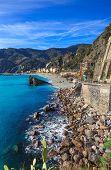 Monterosso Beach And Sea Bay. Cinque Terre, Liguria Italy