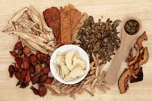 Chinese herbal medicine selection over papyrus background.