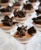Many Mousse Desserts In Clear Glasses