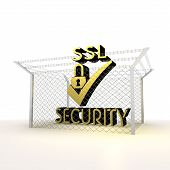 Isolated metallic locked SSL 3d  icon