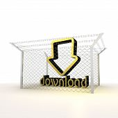 Isolated metallic barbed download 3d sign