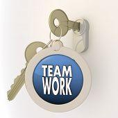 gesperrte entsperrt Teamarbeit Symbol auf Schlüsselanhänger