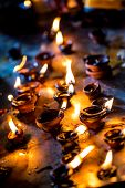 Burning candles in the Indian temple. Diwali �¢�?�? the festival of lights.
