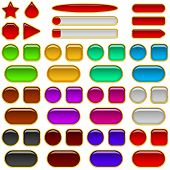 Glass buttons of various colors, set