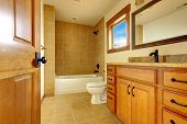 New Modern Beautiful Bathroom In  Luxury Home Interior.