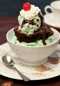 foto of ice cream sundae  - Ice Cream Brownie Sundae A Delicious Treat - JPG