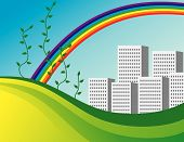 The Bright Rainbow Over The City