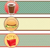 Banners fast food with cola, hamburger and fries.
