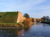Victorian Fort Brockhurst View Along Frozen Moat To Keep