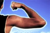 Постер, плакат: Спортсмен показать свои мышцы когда напряжение рук