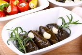 Vine Leaves Stuffed And Garlic With Mediterranean Antipasto