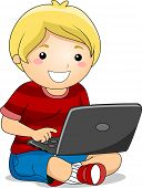 Illustration of a Boy Sitting on the Ground using a Laptop