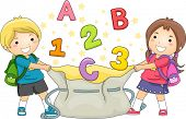 Illustration of Boy and Girl Kids holding a large bag catching ABC's and 123's