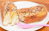 Delicious Breads With Sesame And Honey Jar