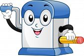 Illustration of Desktop Pencil Sharpener Mascot sharpening a Pencil