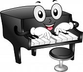 Illustration of Grand Piano Mascot with Piano Stool playing some notes