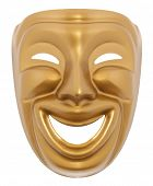 foto of comedy  - Comedy  theatrical mask isolated on a white background - JPG