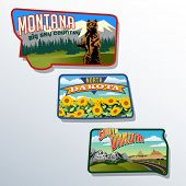 Montana, Dakota do Norte, Dakota do Sul, Estados Unidos design retro