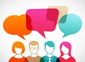 stock photo of debate  - people icons with colorful dialog speech bubbles - JPG