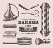 stock photo of barber  - Vintage barber shop objects - JPG