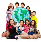 foto of ethics  - Large group of diversity looking teen kids boys and girls holding globe map - JPG