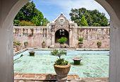 Ancient pool at Taman Sari water castle - the Royal garden of sultanate of Yogyakatra.  Java, Indone