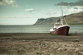 picture of shipwreck  - An old fishing vessel that shipwrecked on the northern coast of Iceland in the Westfjords region - JPG