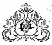 Design element with skull and leaves.