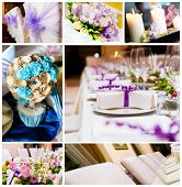 Collage de decoraciones de boda