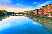 Carraia Medieval Bridge On Arno River, Sunset Landscape. Florenc
