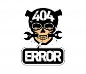 404 error, page not found design template with cartoon skull.