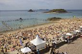 ST MALO, FRANCE - AUGUST 11: Crowded beach of St Malo in the summer, on August 11, 2012 in St Malo,