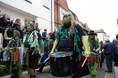 HASTINGS, ENGLAND - MAY 7: Drummers parade through the Old Town during the annual Jack In The Green