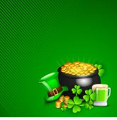 Irish Happy ST. Patrick's Day background with gold coins pot, leprechaun hat, beer mug and shamrock