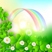 Irish shamrock leaves and flowers on rainbow background for Happy St. Patrick's Day. EPS 10.
