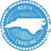 Vintage Style North Carolina USA State Stamp