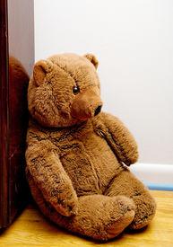 image of stuffed animals  - A teddy bear sitting in a corner - JPG