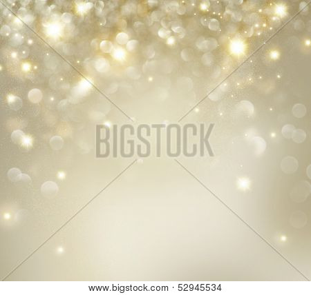 Christmas Background. Golden Holiday Abstract Glitter Defocused Background With Blinking Stars. Blur poster