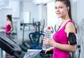 stock photo of treadmill  - Fitness Woman - JPG