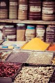 Indian Colored Spices At Local Market In Goa, India