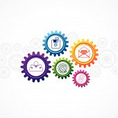 illustration of web icons in cog wheel