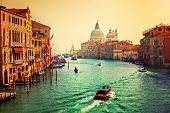 Venice, Italy. Grand Canal and Basilica Santa Maria della Salute at sunset. View from Ponte dell Acc