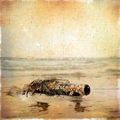 Vintage Background Sms Message In An Old Bottle Covered With Shells And Floating On The Waves.
