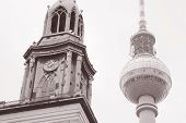 Marienkirche Church And The Fernsehturm Television Tower In Alexanderplatz, Berlin