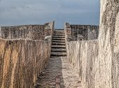 foto of tarifa  - Entrace and stairs to the middle ages castel watch tower of Tarifa andalusia spain - JPG
