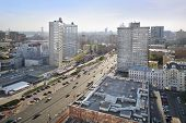 MOSCOW - MAY 10: Road at New Arbat Street, on May 10, 2013 in Moscow, Russia. Length of street is 1.