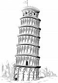 Sketch of Italy Landmark - Tower of Pisa