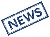 News Square Blue Grunge Stamp