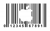 Shopping bar code with apple isolated on white background.