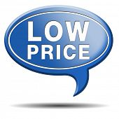 low price product icon or label. Bargain and sales offer. Promotion special prices.